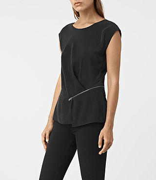 Damen Kado Silk Top (Black) - product_image_alt_text_2
