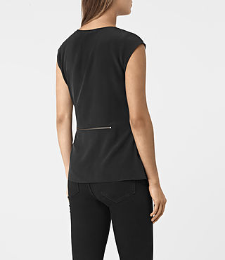 Damen Kado Silk Top (Black) - product_image_alt_text_3