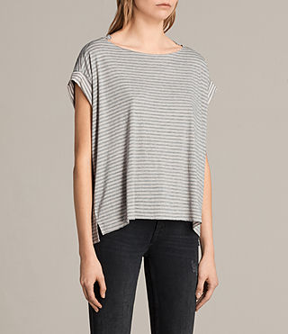 Femmes T-shirt Pina Stripe (PINK/GREY MARL) - product_image_alt_text_3