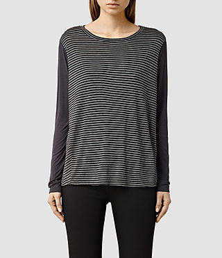 Womens Calder Stripe Top (Black/Grey Marl)