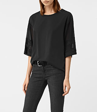 Women's Brendi Sleeve Top (Black) - product_image_alt_text_2