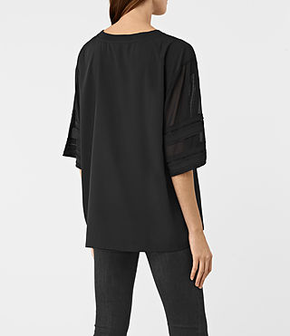 Women's Brendi Sleeve Top (Black) - product_image_alt_text_3