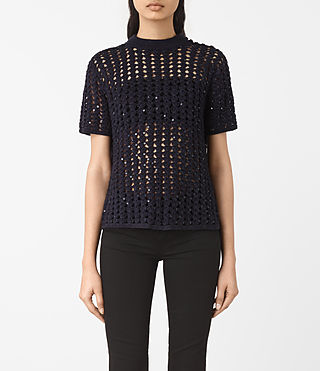 Damen Alyse Embellished Top (Ink Blue)