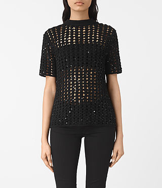 Womens Alyse Embellished Top (Black)