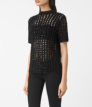 Womens Alyse Embellished Top (Black) - product_image_alt_text_2