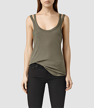 Mujer Colette Strap Tank (Khaki Green) - product_image_alt_text_1