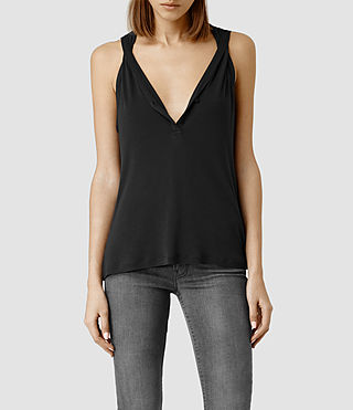 Womens Twill Top (Washed Black)