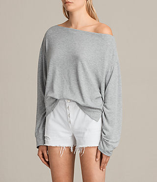 Womens Sammy Long Sleeve Crew Sweater (Grey Marl) - product_image_alt_text_2
