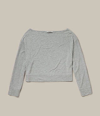 Womens Sammy Long Sleeve Crew Sweater (Grey Marl) - product_image_alt_text_4