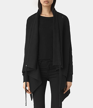 Damen Drape Sweatshirt (Jet Black) -