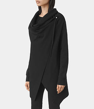 Damen Drape Sweatshirt (Jet Black) - product_image_alt_text_2
