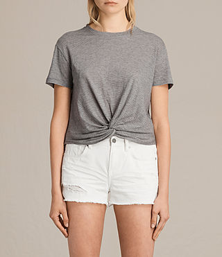 Womens Carme Stripe Tee (GREY MARL/NUDE) - product_image_alt_text_1