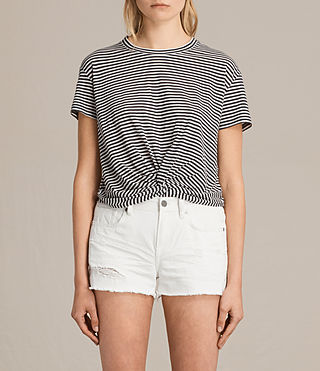 Womens Carme Stripe Tee (SMOKE NAVY/OYSTER) - product_image_alt_text_1