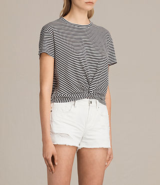 Womens Carme Stripe Tee (SMOKE NAVY/OYSTER) - product_image_alt_text_2