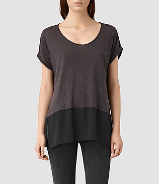 Womens 에이미 티셔츠 (Washed black/Black) - product_image_alt_text_1