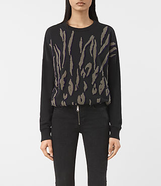 Damen Scar Embroidered Sweatshirt (Washed Black)