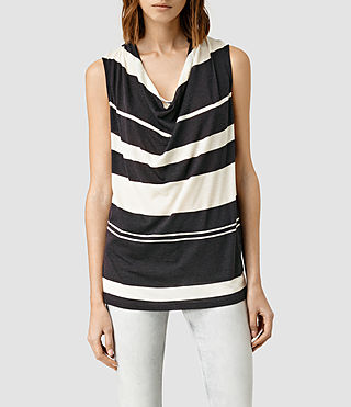 Womens Amei Stripe Top (WSHD BLK/CHALK WHT)