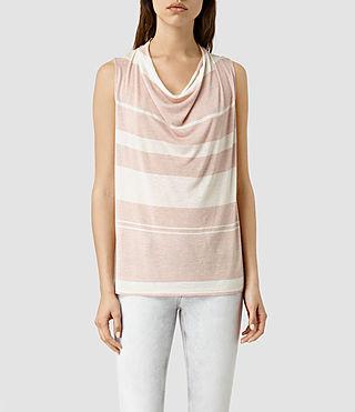Women's Amei Stripe Top (CAMI PINK/C.WHITE)