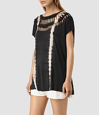 Damen Slash Tie Dye Tee (Black/Chalk)