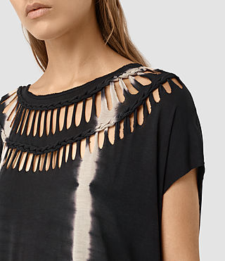 Femmes Slash Tie Dye Tee (Black/Chalk) - product_image_alt_text_2