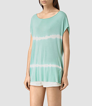 Damen Slash Back Tie Dye Tee (SKY BLUE/CHALK WHT)