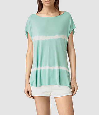 Womens Slash Back Tie Dye Tee (SKY BLUE/CHALK WHT) - product_image_alt_text_3