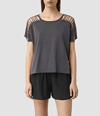 Femmes Slash Shoulder Tee (Black)