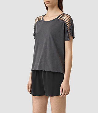 Womens Slash Shoulder Tee (Black) - product_image_alt_text_3