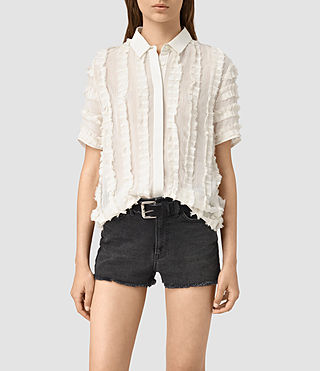 Mujer Emrys Ruffle Shirt (OYSTER WHITE)