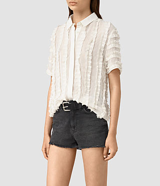 Donne Emrys Ruffle Shirt (OYSTER WHITE) - product_image_alt_text_3