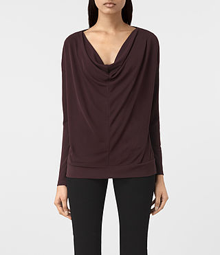 Damen Vicki Top (Damson Red) -