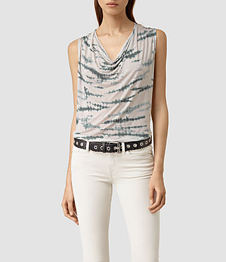 Womens Amei Tye Top (STONE GREY/BLUE)