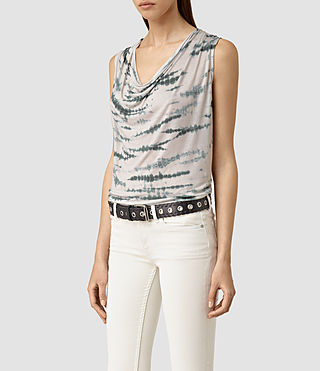 Mujer Amei Tye Top (STONE GREY/BLUE) - product_image_alt_text_3