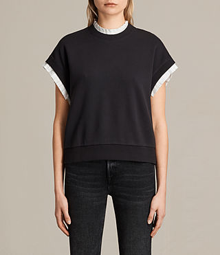 Womens Agata Short Sleeve Sweatshirt (Washed Black) - product_image_alt_text_1