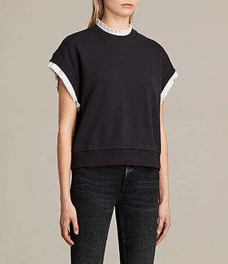 Women's Agata Short Sleeve Sweatshirt (Washed Black) - product_image_alt_text_2