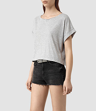Women's Tyler Cropped Tee (Mist Grey Marl) - product_image_alt_text_3