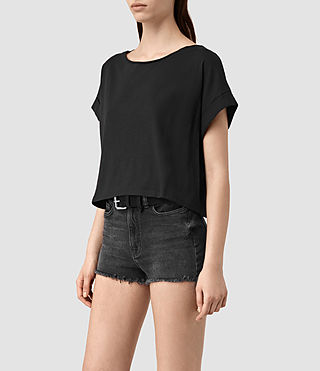 Mujer Tyler Cropped Tee (Black) - product_image_alt_text_3