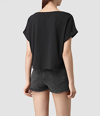 Womens Tyler Cropped Tee (Black) - product_image_alt_text_4