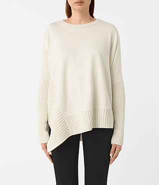 Femmes Sweatshirt Nia Drape (NATURAL WHITE)