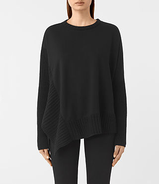 Damen Nia Drape Sweatshirt (Black)