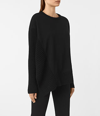 Mujer Nia Drape Sweat (Black) - product_image_alt_text_2