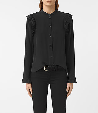 Women's Edin Silk Shirt (Black) -