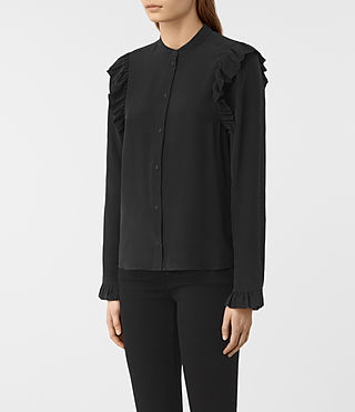 Women's Edin Silk Shirt (Black) - product_image_alt_text_2