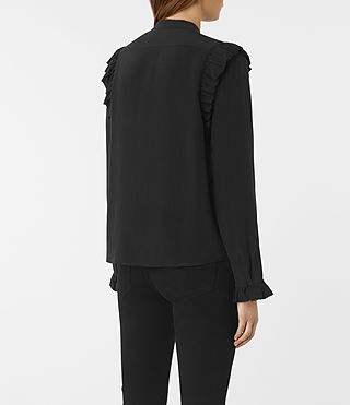 Women's Edin Silk Shirt (Black) - product_image_alt_text_3