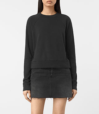 Womens Leti Cropped Sweatshirt (Jet Black) - product_image_alt_text_1