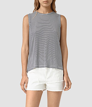 Womens Louis Stripe Top (DRKINKBLU/CHKWHT)