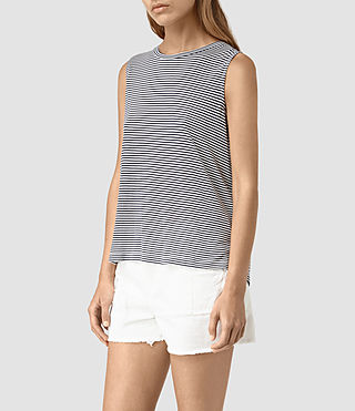 Mujer Louis Stripe Top (DRKINKBLU/CHKWHT) - product_image_alt_text_3