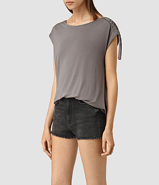 Womens Aria Drape Top (ANTHRACITE GREY) - product_image_alt_text_3