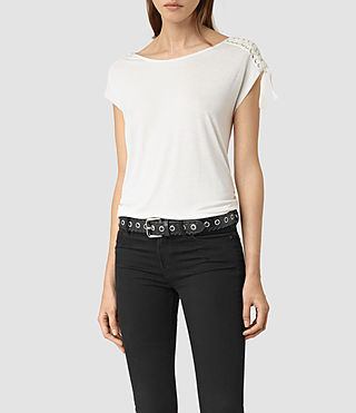 Womens Aria Drape Top (OYSTER WHITE)