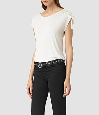 Womens Aria Drape Top (OYSTER WHITE) - product_image_alt_text_3